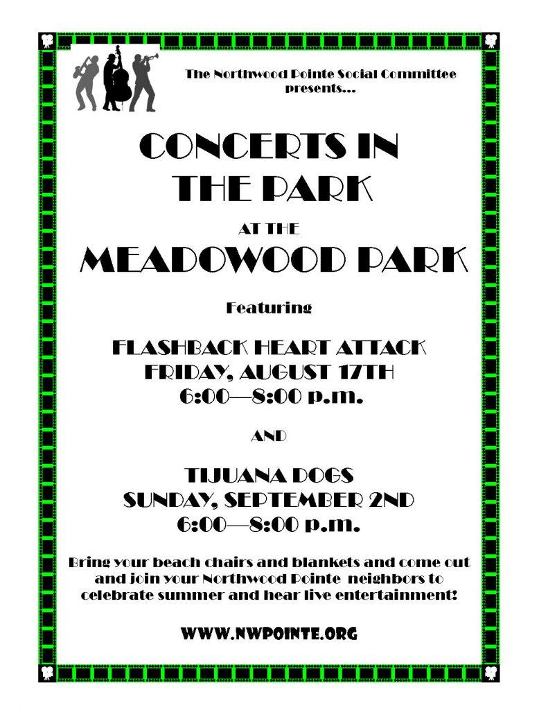 concert in the park 2018 flyer